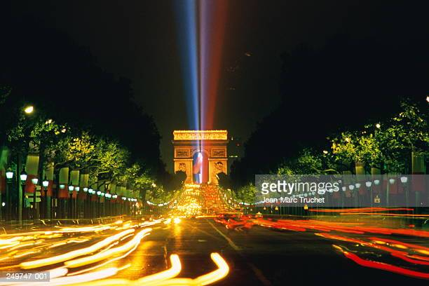 France,Paris,lasers at Arc de Triomphe on Bastille Day