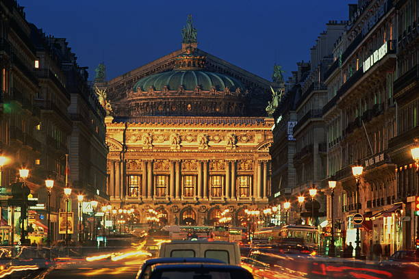 France,Paris,Opera Garnier illuminated at night