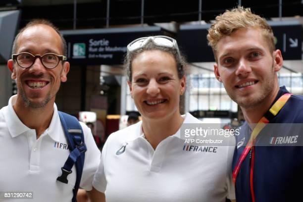 France's 50km men race walk gold medallist walker Yohann Diniz France's women's discus throw bronze medallist Melina RobertMichon and France's...