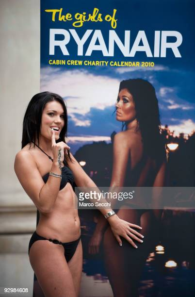 Frances a Ryanair cabin crew poses at the launch of the 2010 Ryanair Cabin Crew Charity Calendar on November 11 2009 in London England The airline...