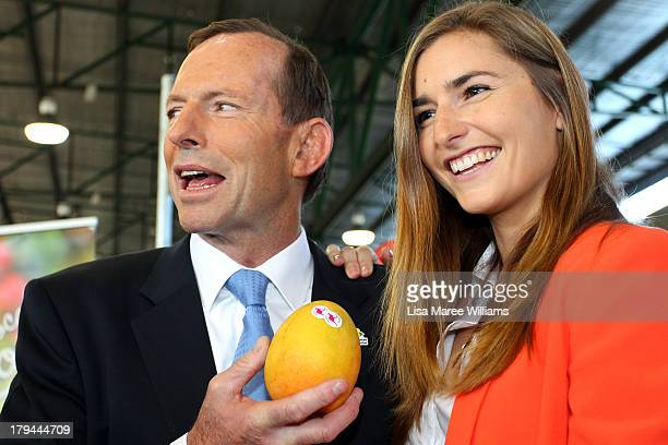 Frances Abbott joins her father Australian Opposition Leader Tony Abbott on the campaign at Sydney Markets on September 4 2013 in Sydney Australia...