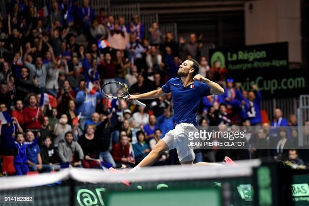 TOPSHOT France's Adrian Mannarino reacts after winning his singles tennis match against the Netherlands' Robin Haase as part of the Davis Cup World...