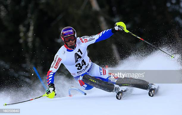 France's Adrien Theaux competes during the first round of the FIS World Cup men's slalom race on January 27 2013 in Kitzbuehel Austrian Alps AFP...