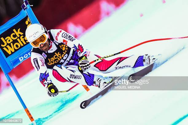 France's Adrien Theaux competes in the FIS Alpine World Cup Men Super G on December 29 2018 in Bormio Italian Alps