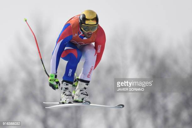 France's Adrien Theaux takes part in the Men's Downhill 3rd training at the Jeongseon Alpine Center during the Pyeongchang 2018 Winter Olympic Games...