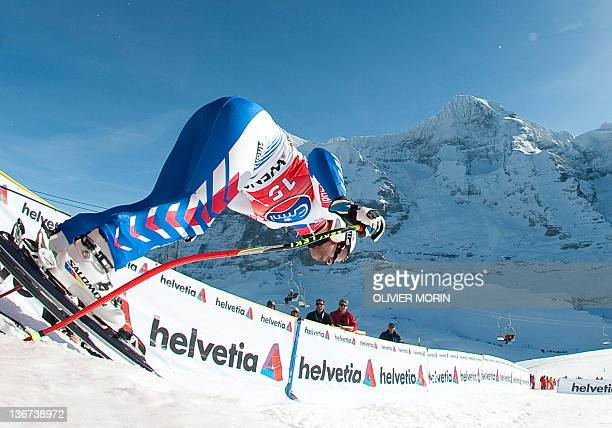 France's Adrien Theaux takes the start of the FIS World Cup Men's Downhill training on January 11 in Wengen AFP PHOTO/OLIVIER MORIN