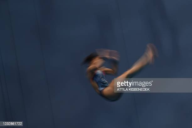 France's Alais Kalonji competes in the preliminary for the Women's 10m Platform Diving event during the LEN European Aquatics Championships at the...