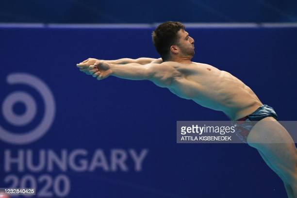 France's Alexis Jandard competes in the preliminary for the Men's 1m Springboard Diving event during the LEN European Aquatics Championships at the...