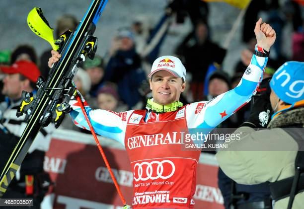 France's Alexis Pinturault celebrates in finish area after competing on January 26 2014 in the FIS men's Alpine ski World Cup Super Combined race in...