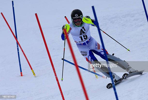 France's Alexis Pinturault competes at the second run of the FIS World Cup men's slalom race on January 27 2013 in Kitzbuehel Austrian Alps Austrian...