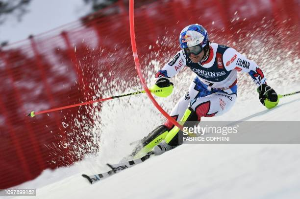 TOPSHOT France's Alexis Pinturault competes during the men's Combined Slalom event of the 2019 FIS Alpine Ski World Championships at the National...