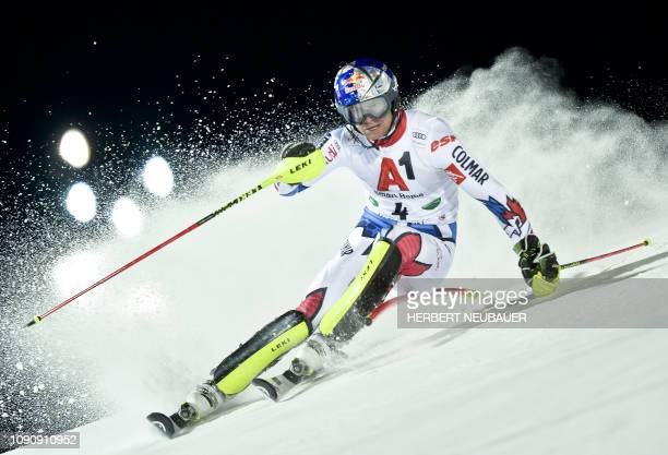 France's Alexis Pinturault competes during the men's slalom event at the FIS Alpine Ski World Cup in Schladming Austria on January 29 2019 / Austria...