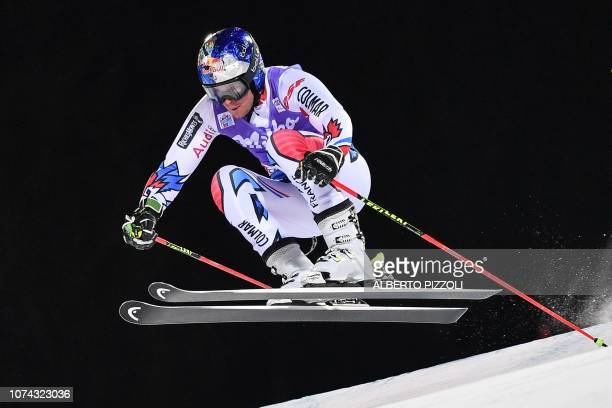 France's Alexis Pinturault competes in the 1/16th final of the FIS Alpine World Cup Men's Parallel Giant Slalom nightrace on December 17 2018 in Alta...
