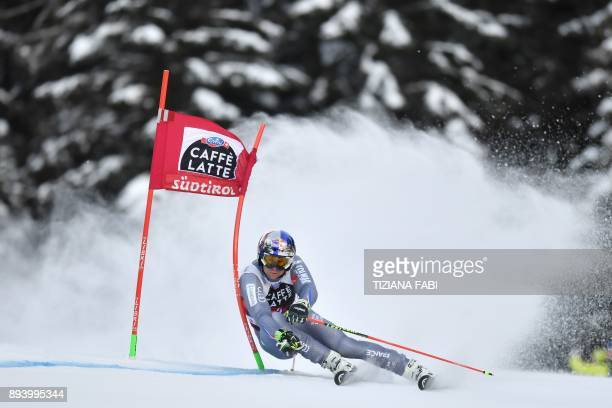 TOPSHOT France's Alexis Pinturault competes in the FIS Alpine World Cup Men's Giant Slalom on December 17 2017 in Alta Badia Italian Alps / AFP PHOTO...