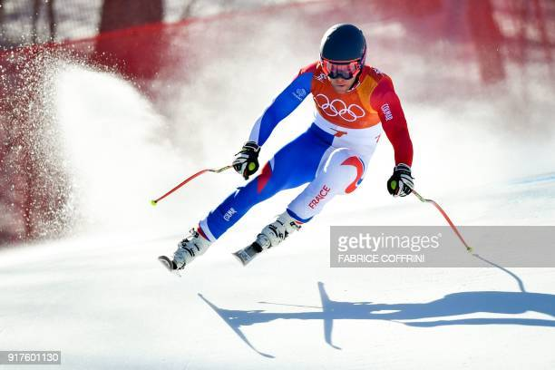 TOPSHOT France's Alexis Pinturault competes in the Men's Alpine Combined Downhill at the Jeongseon Alpine Center during the Pyeongchang 2018 Winter...