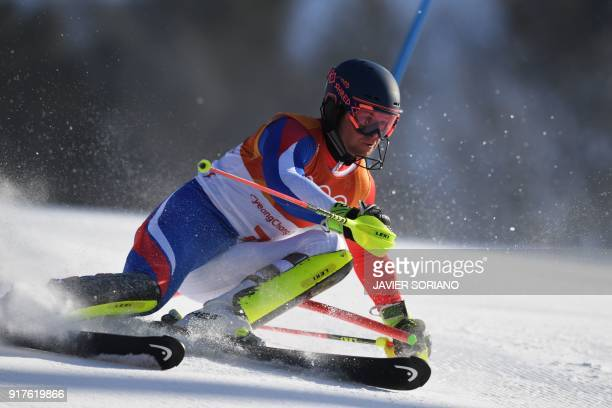TOPSHOT France's Alexis Pinturault competes in the Men's Alpine Combined Slalom at the Jeongseon Alpine Center during the Pyeongchang 2018 Winter...