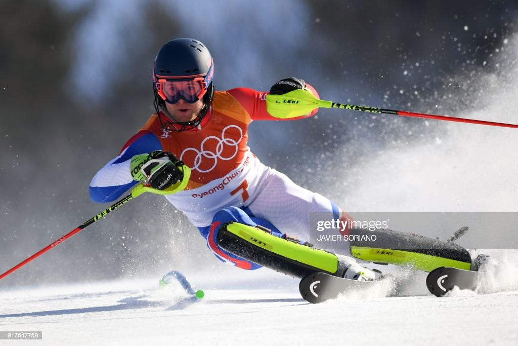 TOPSHOT - France's Alexis Pinturault competes in the Men's Alpine Combined Slalom at the Jeongseon Alpine Center during the Pyeongchang 2018 Winter Olympic Games in Pyeongchang on February 13, 2018. /