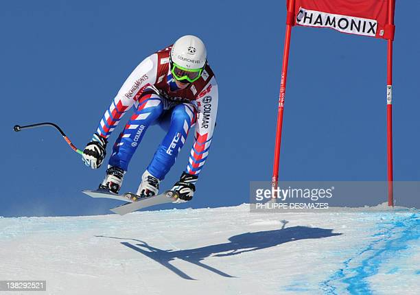 France's Alexis Pinturault competes in the men's downhill event of the FIS World Cup super combined on February 5 2011 in Les Houches near Chamonix...