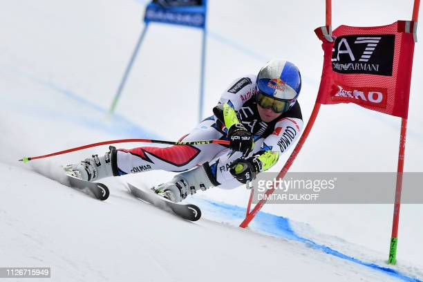 TOPSHOT France's Alexis Pinturault competes in the men's SuperG combined event of the FIS Alpine Ski World Cup in Bansko Bulgaria on February 22 2019