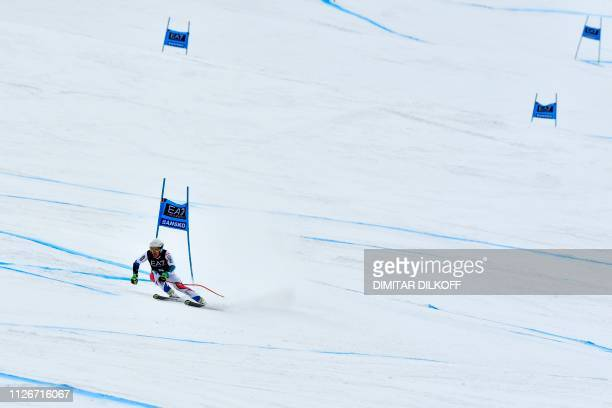 France's Alexis Pinturault competes in the men's SuperG combined event of the FIS Alpine Ski World Cup in Bansko Bulgaria on February 22 2019