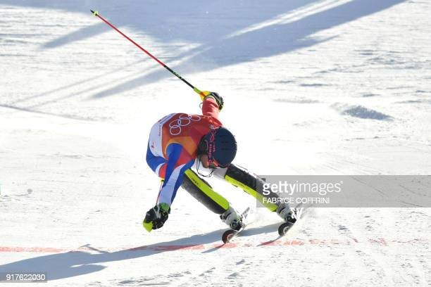 TOPSHOT France's Alexis Pinturault crosses the finish line of the Men's Alpine Combined Slalom at the Jeongseon Alpine Center during the Pyeongchang...