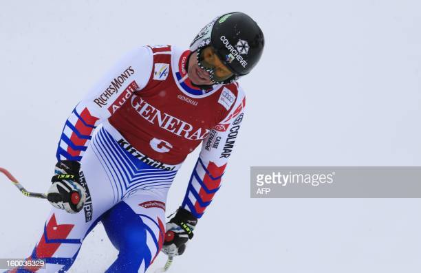 France's ALexis Pinturault reacts after competing in the men's World Cup SuperG on January 25 2013 in Kitzbuehel Norway's Aksel Lund Svindal won the...