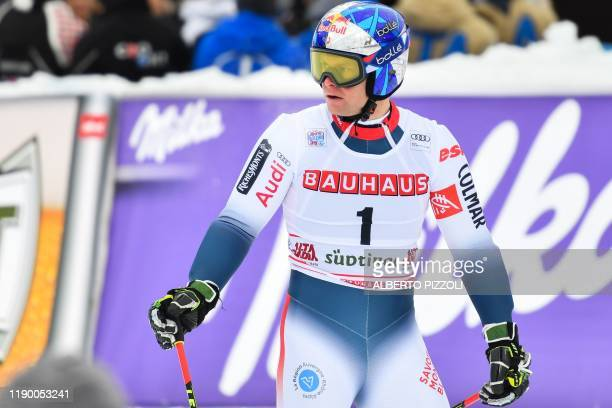 France's Alexis Pinturault reacts after crossing the finich line of the second run of the Men's Giant Slalom of the FIS Alpine World Cup on December...