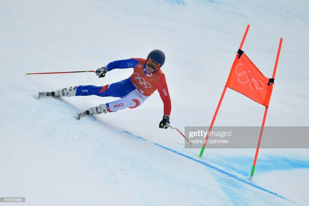 France's Alexis Pinturault takes part in the Men's Downhill 2nd training at the Jeongseon Alpine Center during the Pyeongchang 2018 Winter Olympic Games in Pyeongchang on February 9, 2018. / AFP PHOTO / Fabrice COFFRINI