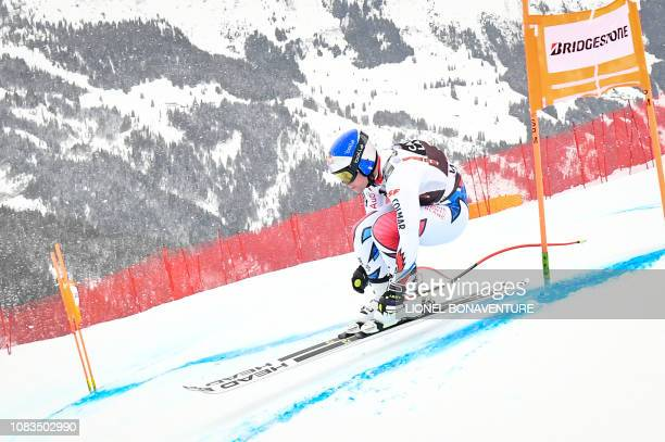 France's Alexis Pinturault takes part in the training run for the men's downhill race of the FIS Alpine Ski World Cup in Lauberhorn in Wengen on...