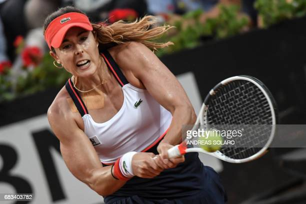 TOPSHOT France's Alize Cornet hits a return to Italy's Sara Errani during the ATP Tennis Open tournament in Rome at the Foro Italico on May 15 2017...