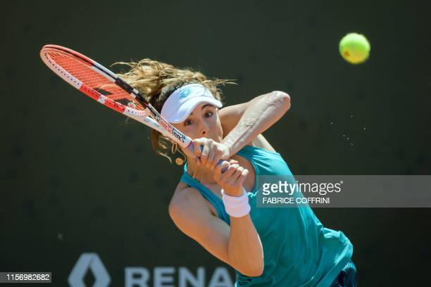 TOPSHOT France's Alize Cornet returns a ball to compatriot Fiona Ferro during their final match at the Ladies Open Lausanne WTA tennis tournament on...