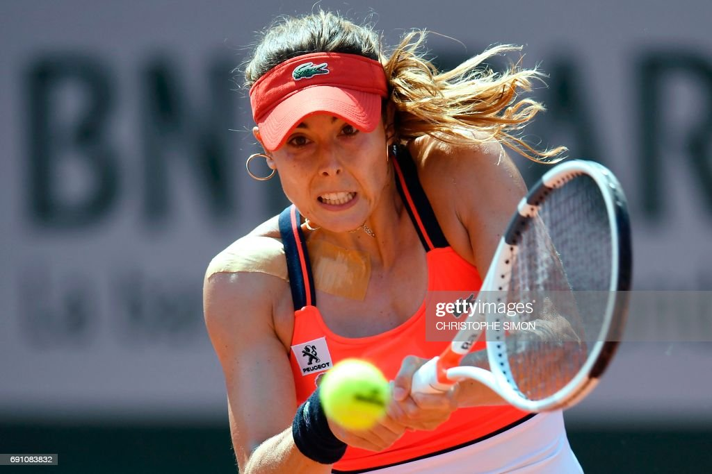 TOPSHOT - France's Alize Cornet returns the ball to Czech Republic's Barbora Strycova during their tennis match at the Roland Garros 2017 French Open on June 1, 2017 in Paris. /