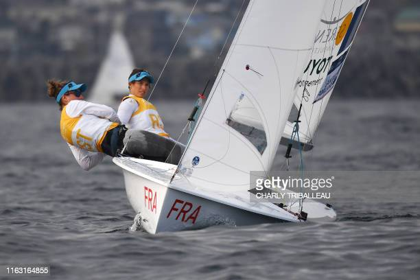 TOPSHOT France's Aloise Retornaz and Camille Lecointre compete in the women's two person dinghy 470 class competition in a sailing test event for the...