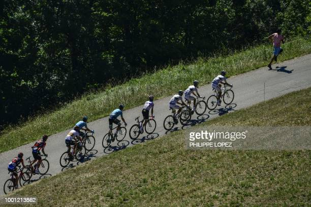 France's Amael Moinard France's Elie Gesbert France's Warren Barguil France's Julian Alaphilippe wearing the best climber's polka dot jersey and...