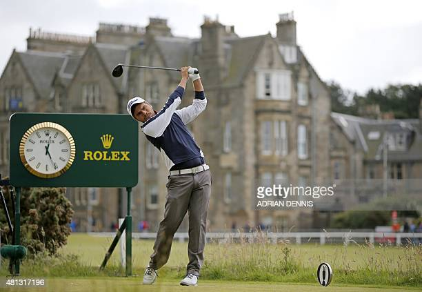 France's amateur golfer Romain Langasque watches his drive from the 2nd tee during his third round on day four of the 2015 British Open Golf...