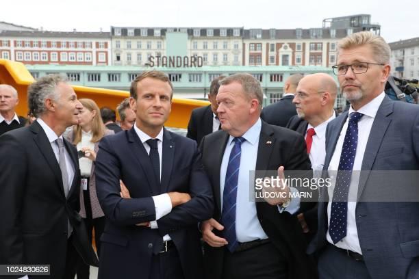 France's ambassador to Denmark Francois Zimeray, French President Emmanuel Macron, Prime Minister Lars Lokke Rasmussen and Copenhagen Mayor Frank...