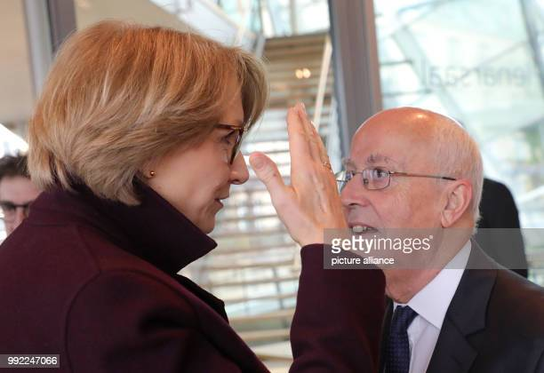 France's Ambassador to Germany AnneMarie Descotes talking with awardwinning historian Etienne Francois ahead of the awards ceremony of the Prix de...