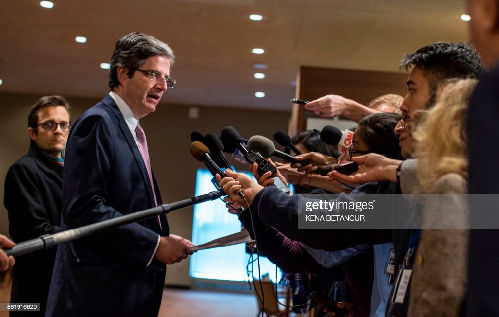 France's Ambassador to the UN Francois Delattre speaks to the media before a UN Security Council emergency meeting over launch of another ballistic missile by North Korea on November 29, 2017, at United Nations Headquarters in New York. /