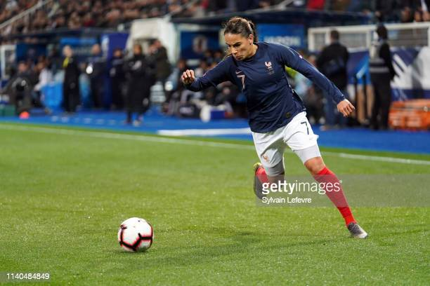 France's Amel Majri during women friendly soccer match France vs Japan at Stade de L'AbbeDeschamps on April 04 2019 in Auxerre France