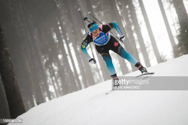 France's Anais Bescond competes during the IBU Biathlon World Cup Women's 15km Individual competition in Pokljuka on December 6 2018