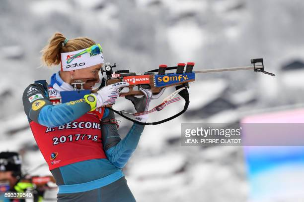 TOPSHOT France's Anais Bescond takes part in a training session during the IBU World Cup Biathlon in Le Grand Bornand on December 15 2017 / AFP PHOTO...