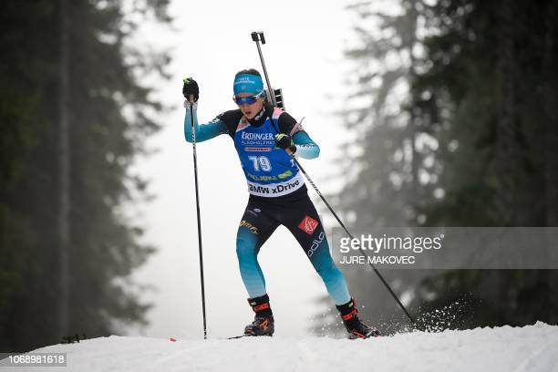 France's Anais Chevalier competes during the IBU Biathlon World Cup Women's 15km Individual competition in Pokljuka on December 6 2018