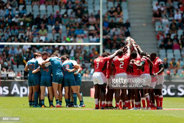 France's and Kenya's players gather prior to the World Rugby Sevens Series match Kenya versus France on December 9 2017 at the Cape Town Stadium in...