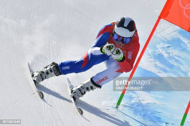 TOPSHOT France's AnneSophie Barthet takes part in the 3rd training of the Alpine Skiing Women's Downhill at the Jeongseon Alpine Center during the...