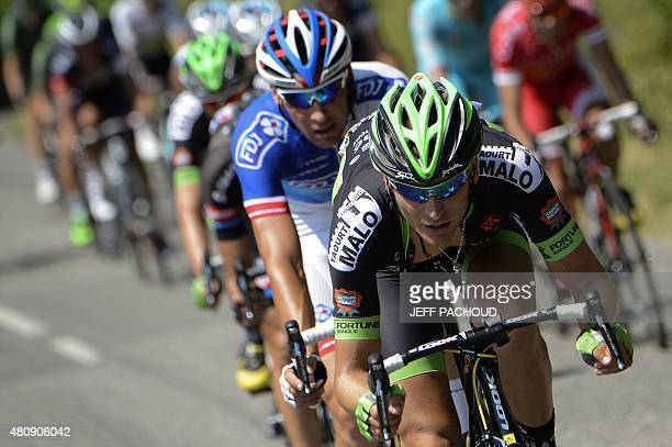 France's Anthony Delaplace leads a breakaway during the 195 km twelfth stage of the 102nd edition of the Tour de France cycling race on July 16...