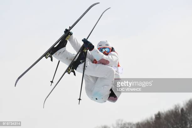 TOPSHOT France's Antoine Adelisse competes in the men's ski slopestyle event during the Pyeongchang 2018 Winter Olympic Games at the Phoenix Park in...