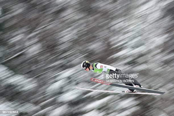 France's Antoine Gerard competes during the Men's Gundersen of the FIS Nordic Combined World Cup in ChauxNeuve eastern France on January 20 2018 /...