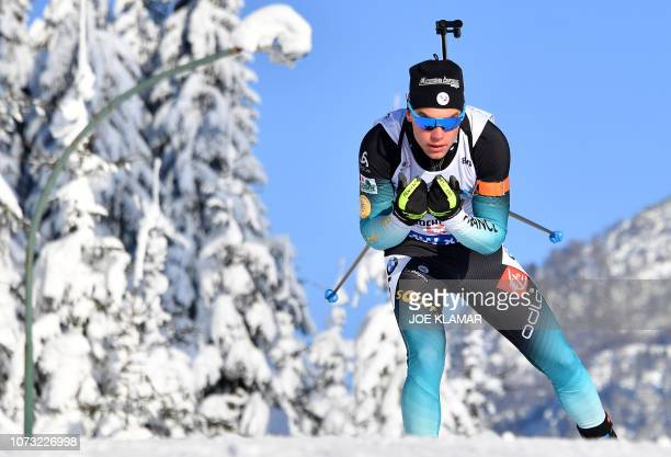 France's Antonin Guigonnat competes in the Men's 10km sprint event at the IBU Biathlon World Cup in Hochfilzen Austria on December 14 2018