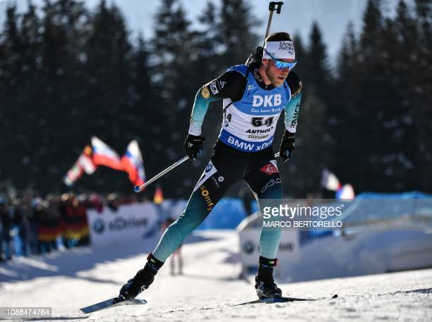 France's Antonin Guigonnat competes on his way to place third of the Men's 10 km sprint event of the IBU Biathlon World Cup in RasenAntholz Italian...