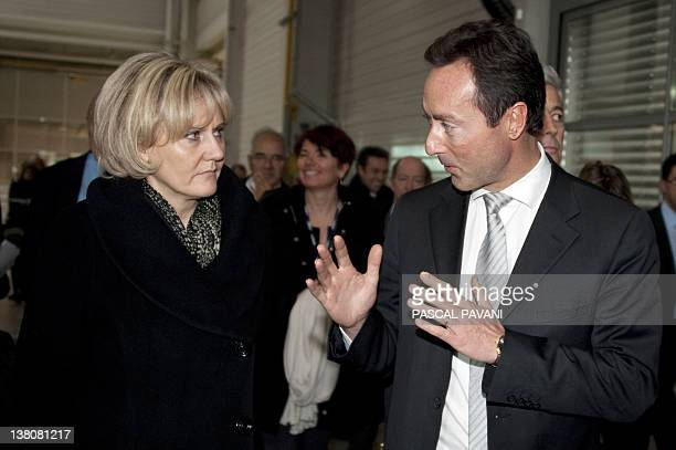 France's Apprenticeships and Training Minister Nadine Morano listens to Fabrice Bregier Chief Operating Officer of Airbus the European aircraft...